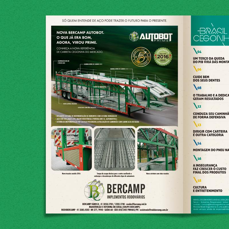 Anúncio de 1 página criado para a 3ª edição da Revista Brasil Cegonheiro