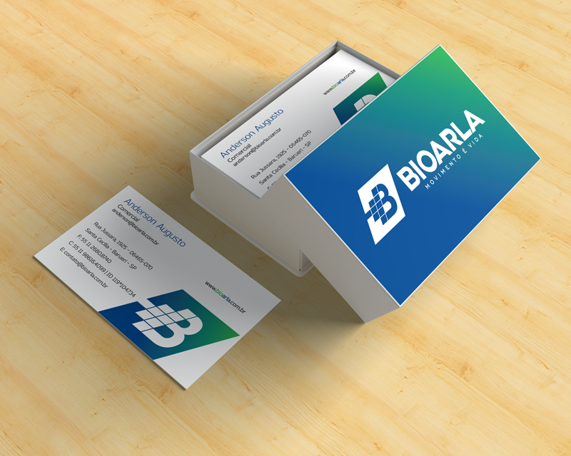 Mockup do cartão de visita desenhado para a Bioarla