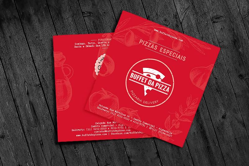 Folheto promocional criado para divulgar a pizzaria