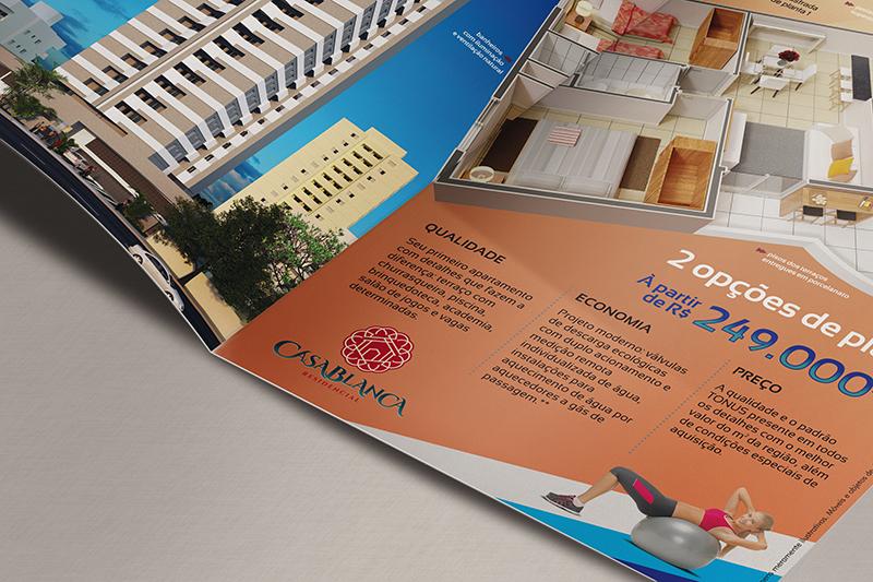 Folheto A4 para divulgação do Residencial Casablanca em Santo André