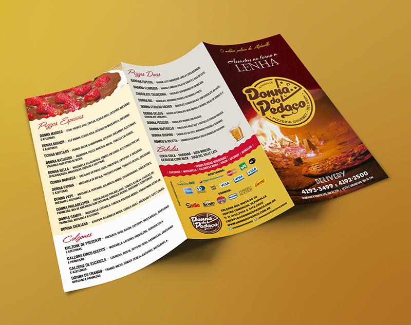 Folheto promocional com o cardápio da pizzaria para divulgação