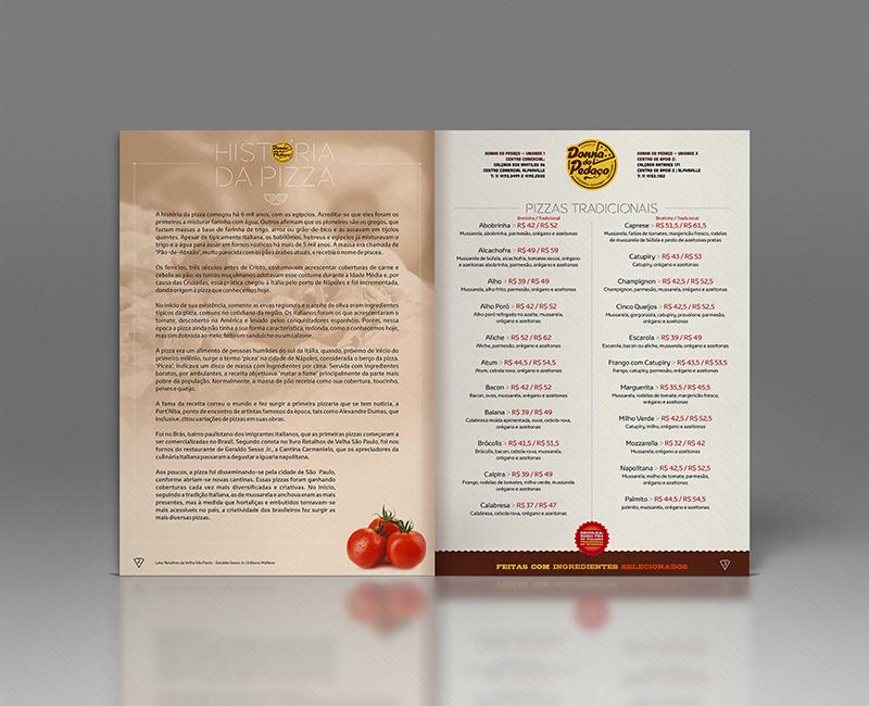 Parte interna do cardápio com a História da Pizza e o início das pizzas tradicionais