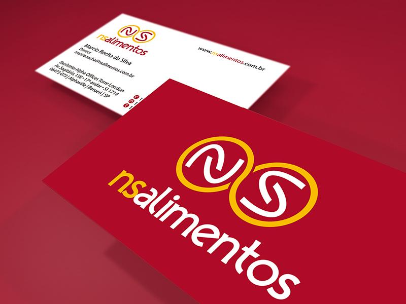 Mock up do cartão de visita criado para a NS Alimentos. Uma das peças da papelaria corporativa desenhada.