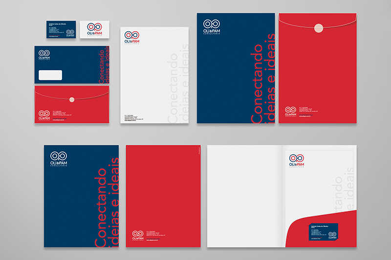 Mockup da papelaria corporativa desenhada para a OliePam Consultoria