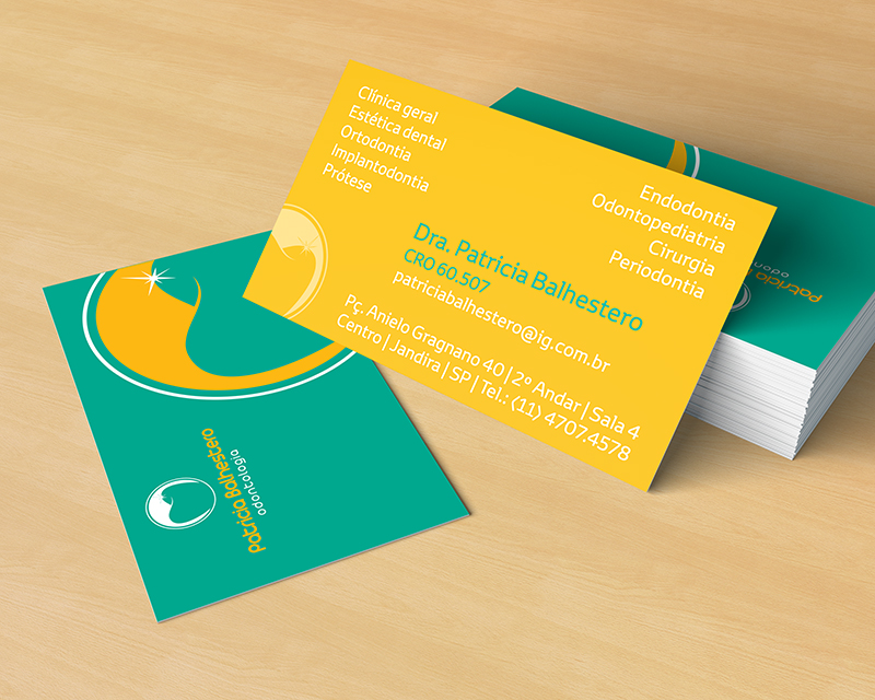 Padrão de cartão de visita criado para o consultório da Doutora Patrícia Balhestero.