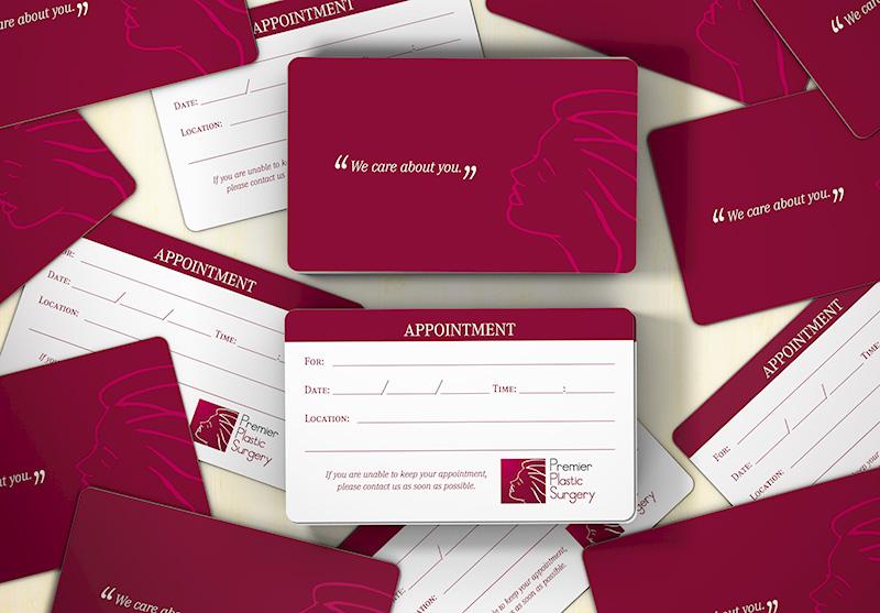 Visual dos cartões para lembrete de consulta criados