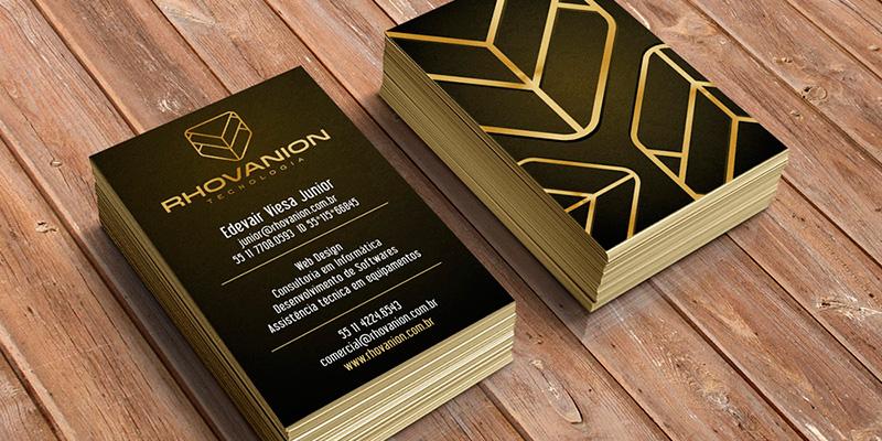Padrão visual dos cartões de visita da Rhovanion Tecnologia